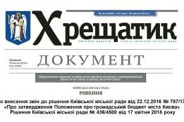"""Положення про Громадський бюджет та Параметри ГБ на 2019 рік оприлюднено у газеті """"Хрещатик"""""""